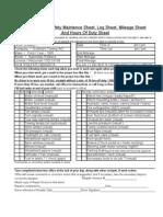 Drivers Daily Check Sheet Log Sheet Mileage Sheet