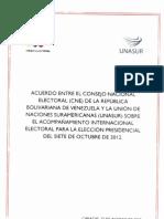Acuerdo de Acompañamiento CNE-Unasur