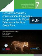 Densidad absoluta y conservación del jaguar y sus presas en la Región Talamanca Pacífico, Costa Rica