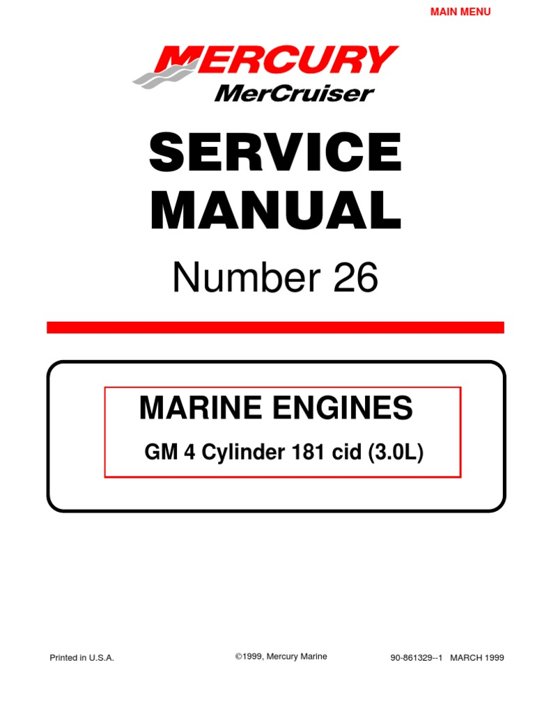 Mercruiser 4 Cyl 3.0 Service Manual | Gasoline | Internal Combustion ...