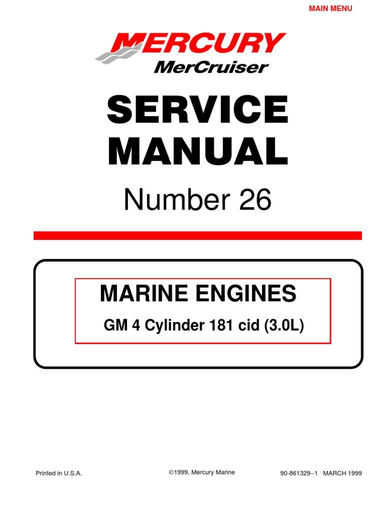 Mercruiser 4 Cyl 3.0 Service Manual | Motor Oil | Gasoline | Chevrolet Marine Engine Diagram |  | Scribd