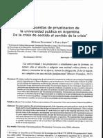 Las Propuestas de Privatizacion de La Universidad Arg