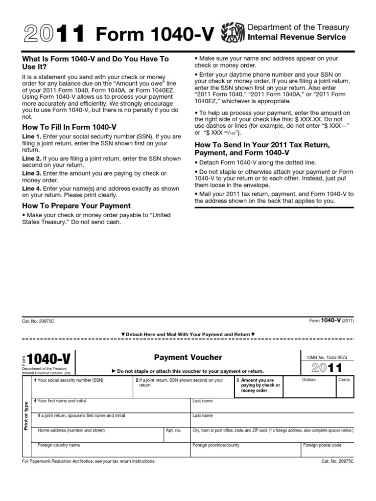 1040 v payment voucher irs tax forms cheque falaconquin
