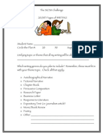 The 50.50 Challenge Writing Planning Sheet