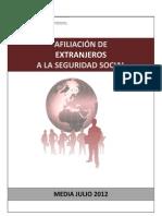 Afiliación de extranjeros a la Seguridad Social - Julio 2012