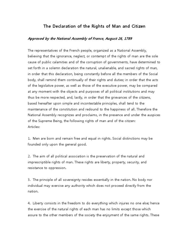 The Declaration of the Rights of Man and Citizen | Natural