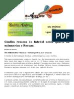 Confira Resumo Do Futebol Nesta Quarta Na Sulamerica e Recopa