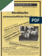 Historische Tatsachen - Nr. 21 - Udo Walendy - Strafsache Wissenschaftliche Forschung (1984, 40 S., Scan-Text)