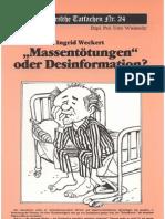 Historische Tatsachen - Nr. 24 - Udo Walendy - Ingrid Weckert - Massentoetungen Oder Desinformation (1985, 40 S., Scan-Text)