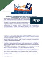MENSAJE DE LA PRESIDENTA NACIONAL DE ANFUCULTURA 9° ANIVERSARIO CONSEJO NACIONAL DE LA CULTURA Y LAS ARTES