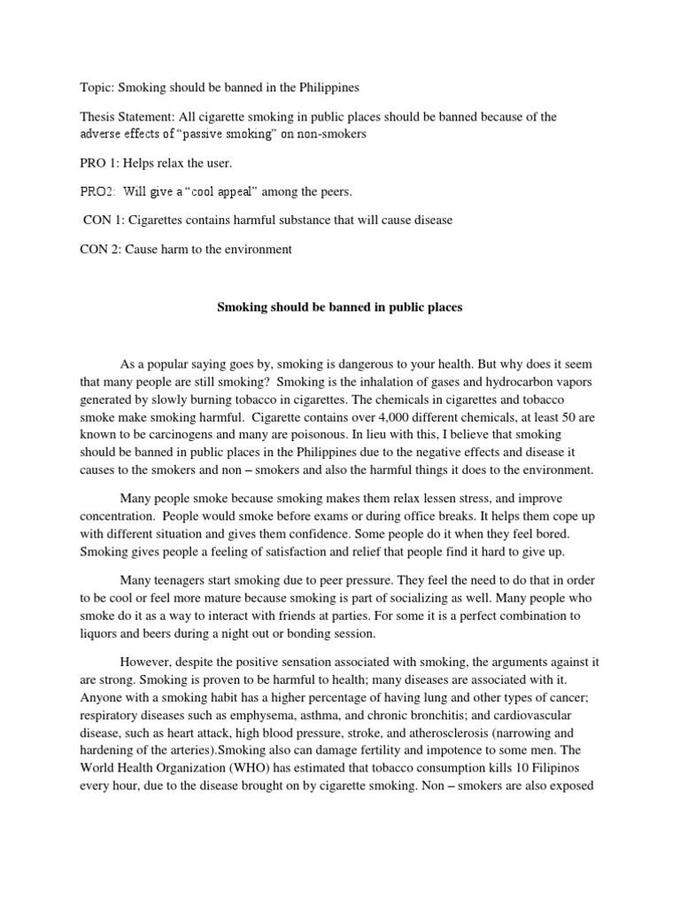 smoking in public places essay pdf