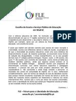Escolha da Escola e Serviço Público de Educação em Madrid