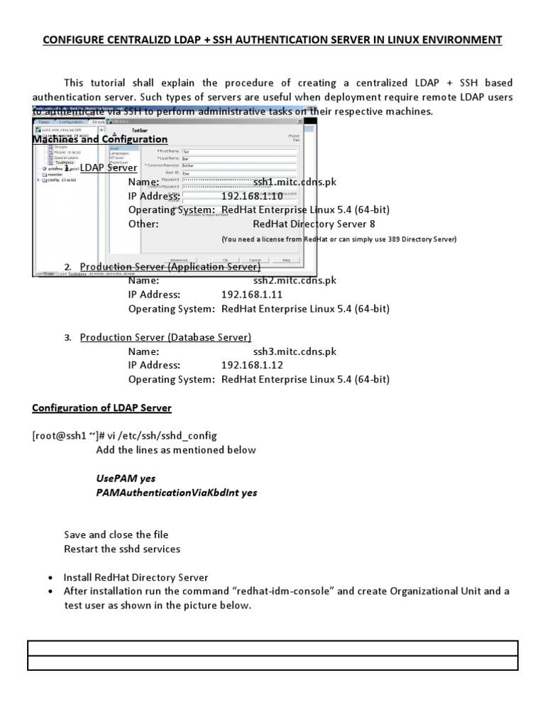 LDAP+SSH Authentication   Server (Computing)   Secure Shell
