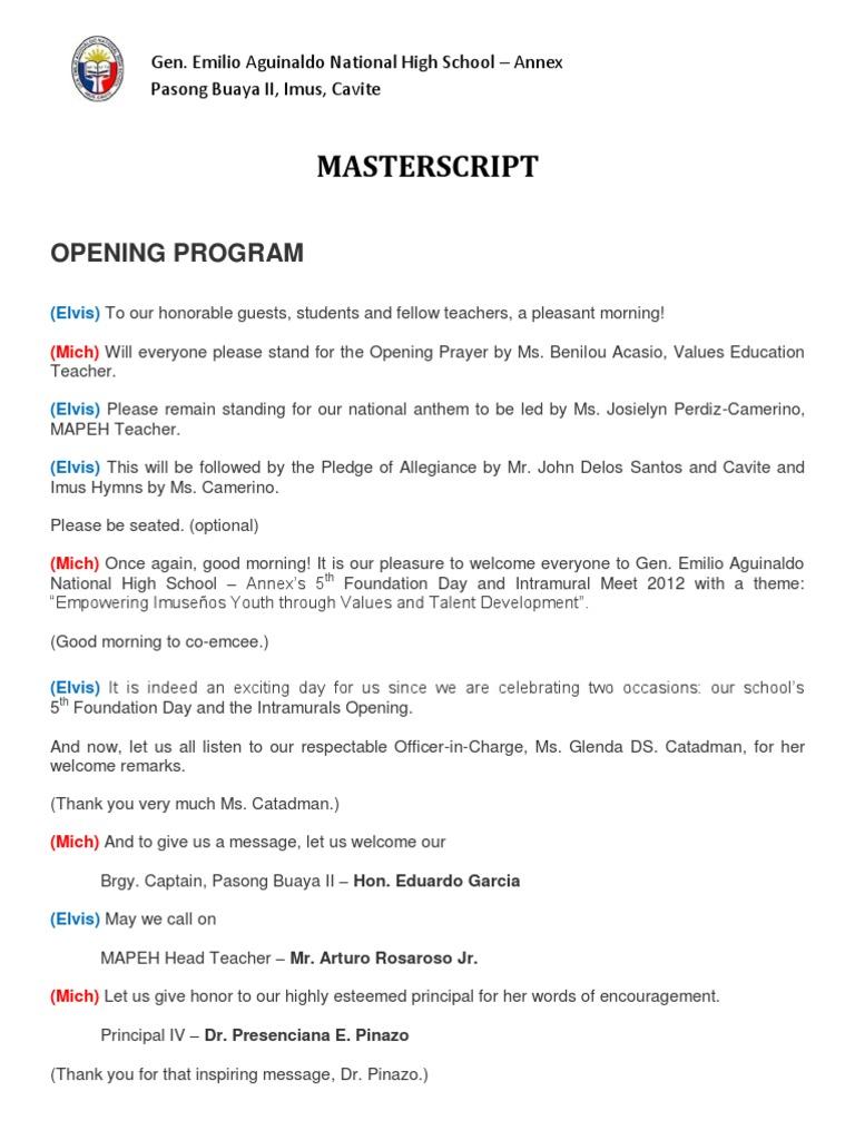 Intramural Script 2012 revised | Elvis Presley