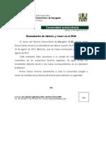 Comunicado de Prensa-Reanudación de labores 24 agosto