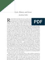 Lyric, History, and Genre - Jonathan Culler