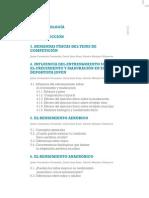 """Indice Libro """"Fundamentos del Entrenamiento de la Condición Física Para jugadores en Formación"""""""