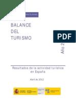 Balance del turismo en España. Año 2011