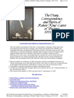 Robert King Carter Diary and Papers