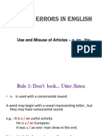 Common Errors in English- Articles & Prep