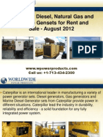 Caterpillar Diesel, Natural Gas and Portable Gensets for Rent and Sale - August 2012