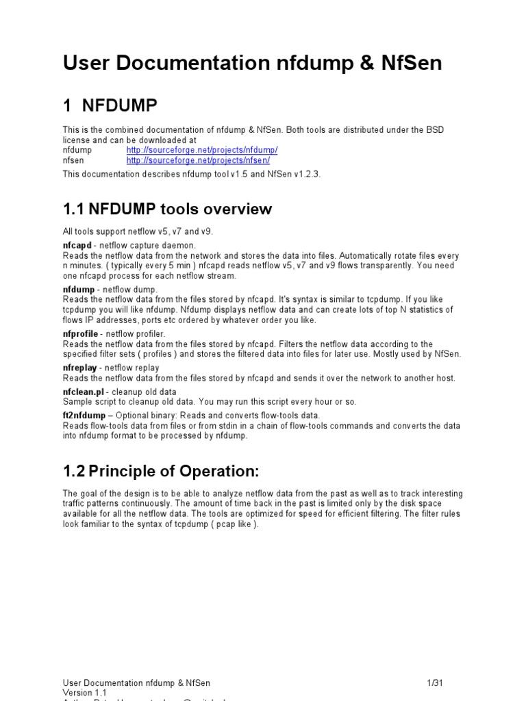 nfsen nfdump Nfdump and nfsen nfdump overview : nfcapd nfcapd2006xx text binary nfdump collecting data processing data storage sfcapd sflow exporter netflow v5, v7 or v0 exporter.