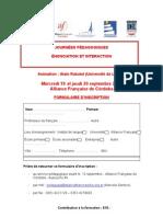 Fiche d'Inscription Et Programme - Alain Rabatel