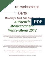 Barts Winter 2012 Menu