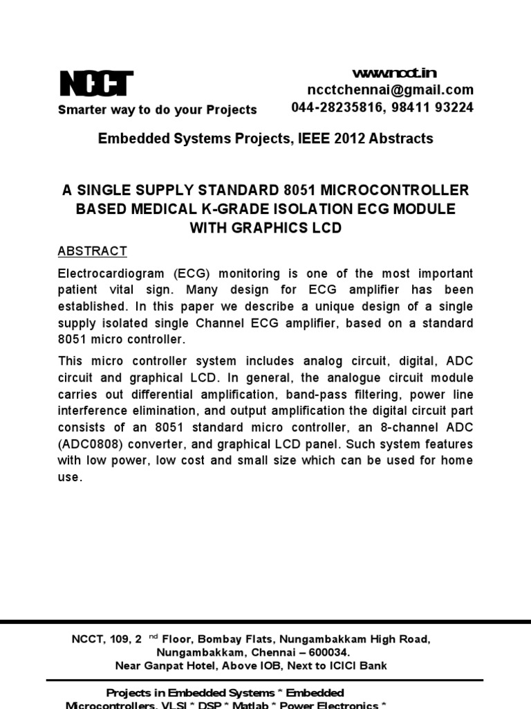 A Single Supply Standard 8051 Microcontroller Based Medical K Grade Electronics Circuit Board Projects Power Design Isolation Ecg Module With Graphics Lcd Embedded System