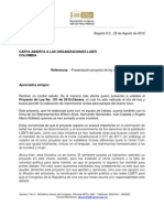 Proyecto Ley Matrimonio Igualitario Colombia 2012 y Carta de Representante ALBA LUZ PINILLA PEDRAZA a LGTB