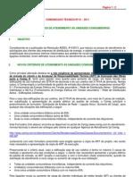 COMUNICADO TECNICO 1 2011 Novos Criterios Atendimento as Unidades Consumidora VERSAO 2