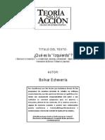 ¿Qué es la izquierda? de Bolivar Echeverría