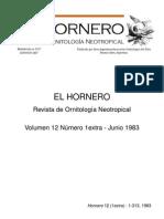 Revista El Hornero, Volumen 12, N° 1.Extra. 1983.
