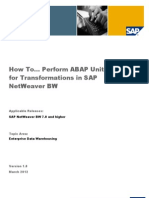 How to... Perform ABAP Unit Tests for Transformations in SAP NetWeaver BW