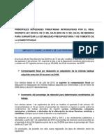 Novedades tributarias introducidas por Real Decreto Ley 20/2.012