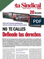 Gaceta Sindical 20 de Junio Convocan Movilizaciones