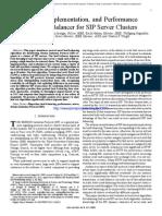 Design, Implementation, And Performance of a Load Balancer for SIP Server Clusters