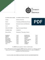 Sample of Rapid Development Methods Exam (Dec 2008) - UK University BSc Final Year