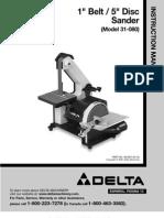 "Delta Model 31-080 1"" Belt Sander Manual"