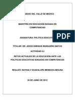 ACTIVIDAD 4.2 Retos Actuales de La Educacion Ante Las Politicas Educativas
