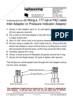 Instruction for Fitting a 177 Cal or Fac Rated Inlet or Pressure Indicator Adaptor