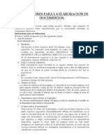 Instrucciones Para La Elaboracion de Documentos