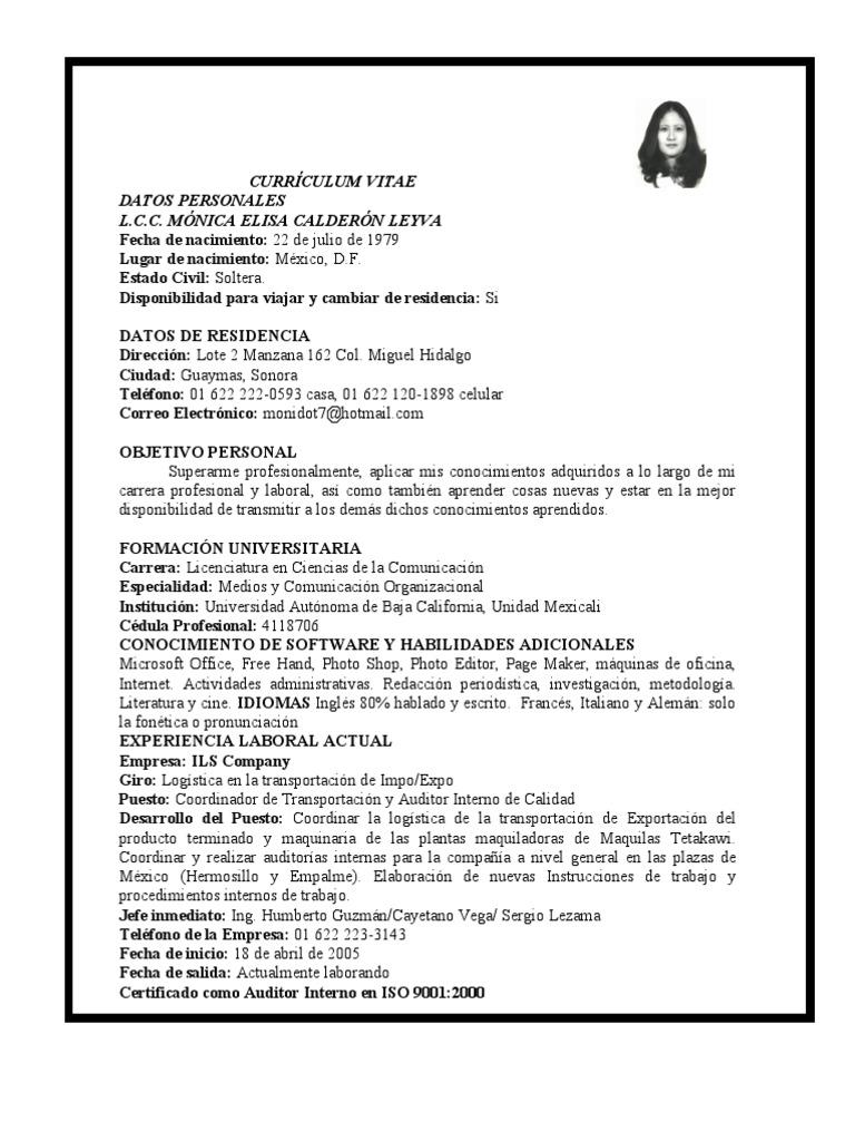 Curriculum Vitae Lcc Monica Calderon para proyecto Guaymas TV de ...