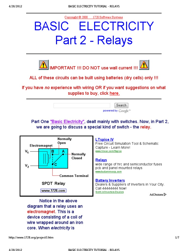Basic Electricity Tutorial Relays Relay Switch Dpdt