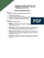Gabarito Prova Discursiva -  VESTIBULAR UFSC 2012