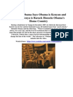 Michelle Obama Says in Dec 2007 Obama is Kenyan and Kenya is Barack Hussein Obama's Home Country