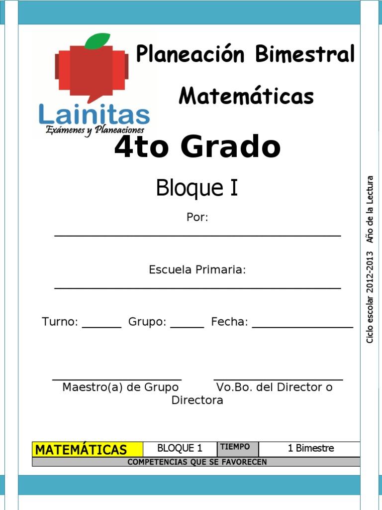 4to Grado - Bloque 1 - Matemáticas
