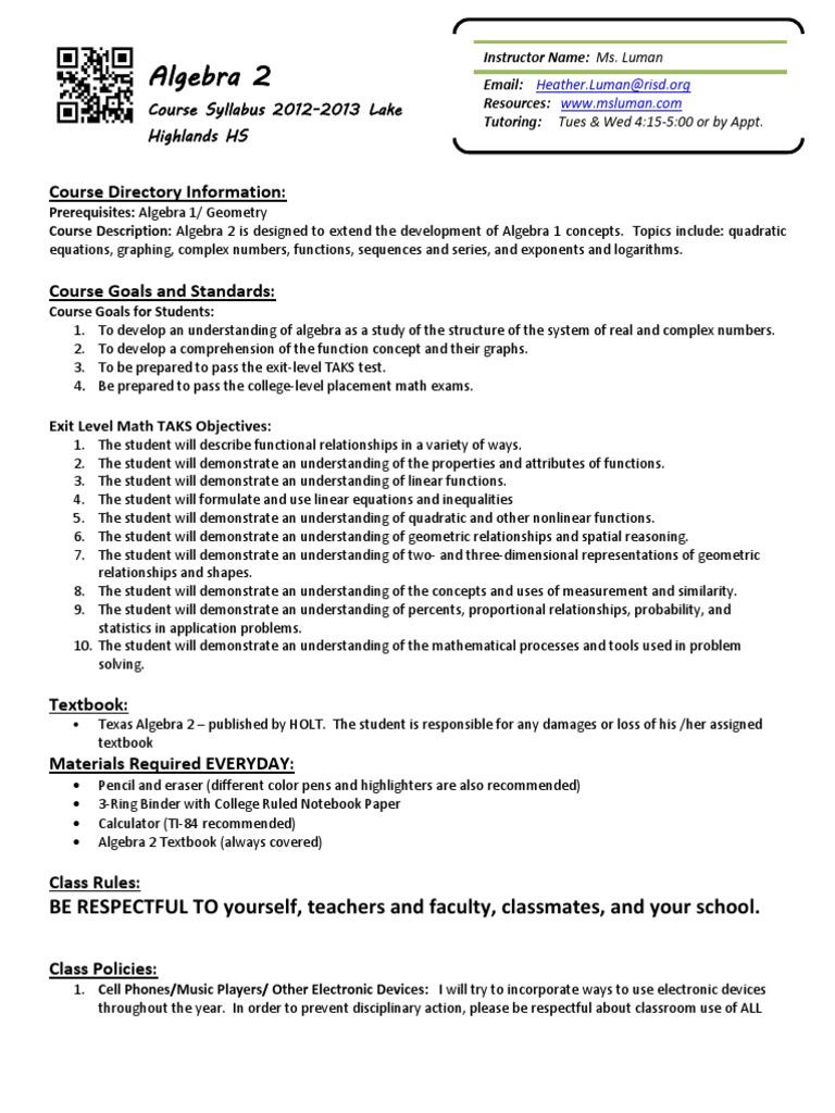 Algebra 2 Syl Lab Us | Algebra | Geometry