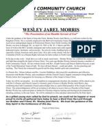 Wesley Jarell Morris Licensing Service