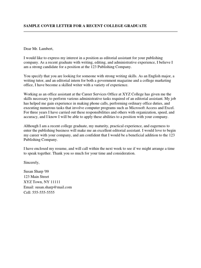 Sample Cover Letter For A Recent College Graduate | Résumé | Communication